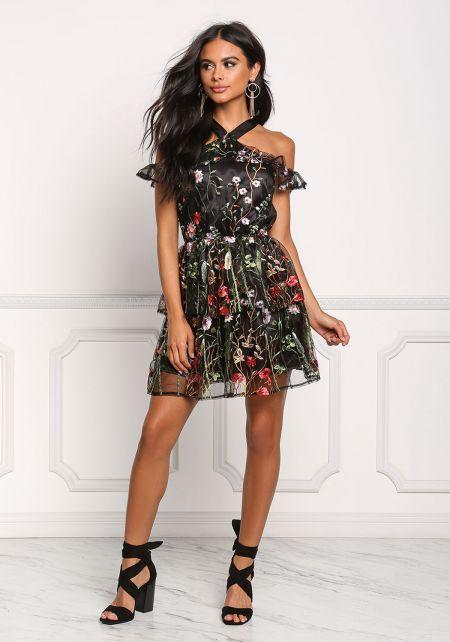 Black Floral Tulle Cold Shoulder Flared Dress