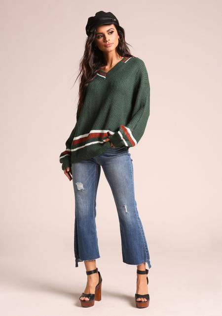Green Stripe Distressed V Neck Sweater Top