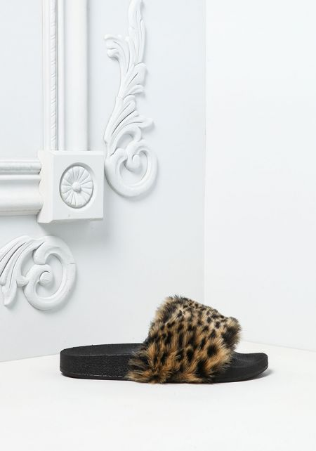 Leopard Faux Fur Slide Sandals
