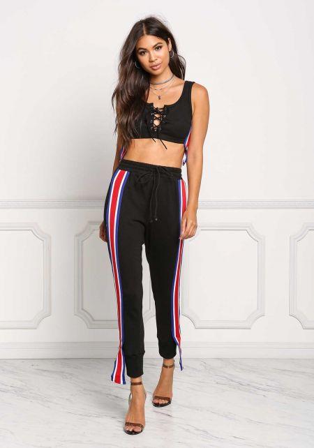 Black Side Stripe High Rise Jogger Pants