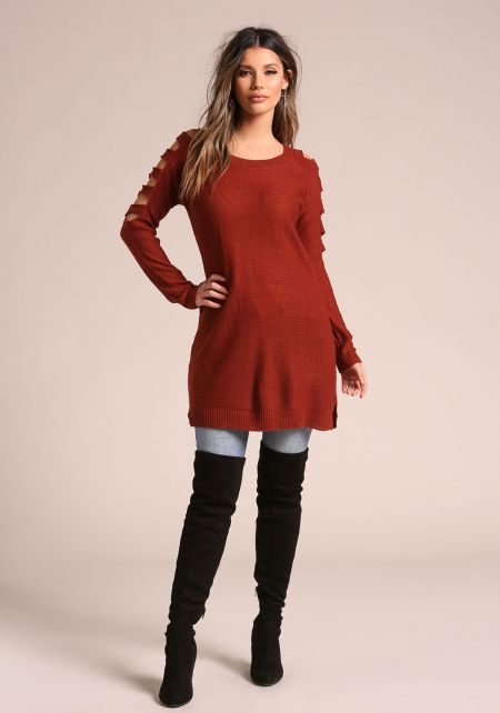 Rust Shoulder Multi Cut Out Tunic Sweater Top