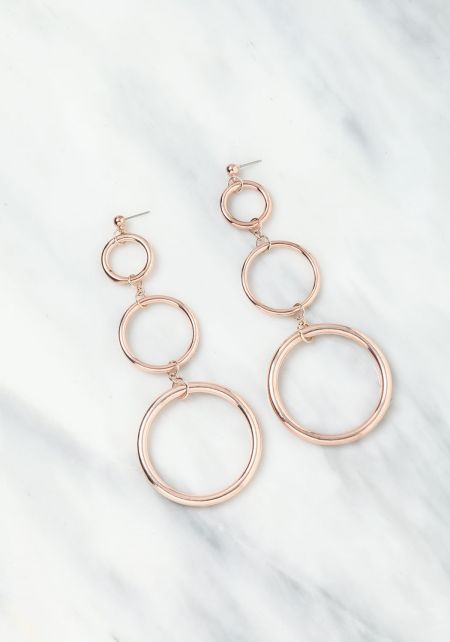 Rose Gold Circle Chandelier Earrings