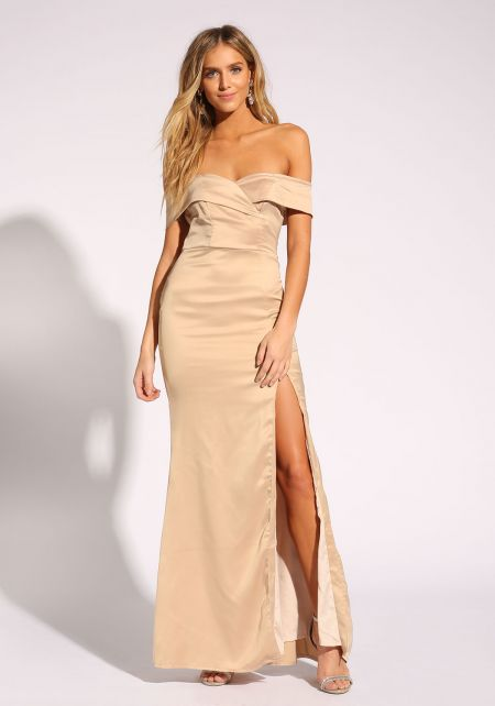 Champagne Silky Off Shoulder Slit Gown