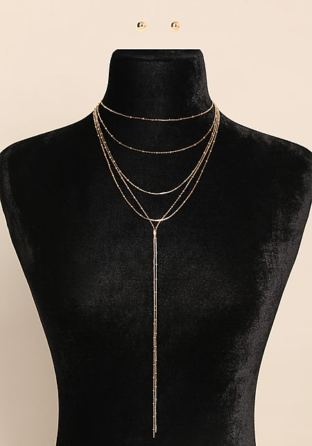 Gold Layered Drop Chain Necklace