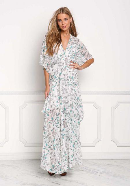 Ivory Floral Chiffon Slit Maxi Dress