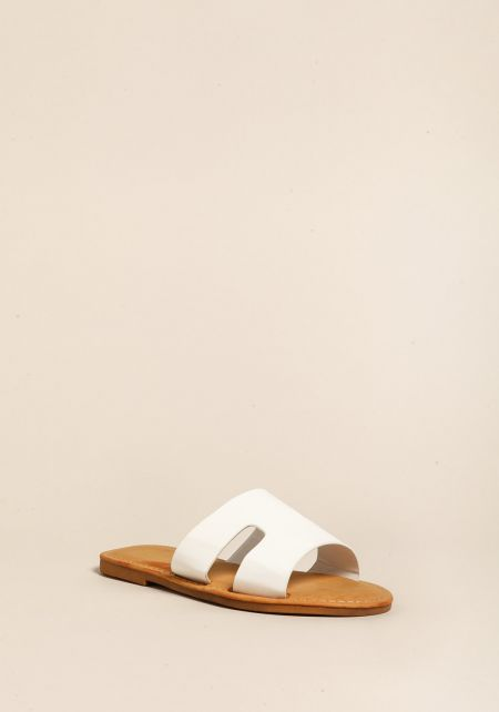 White Leatherette Cut Out Sandals
