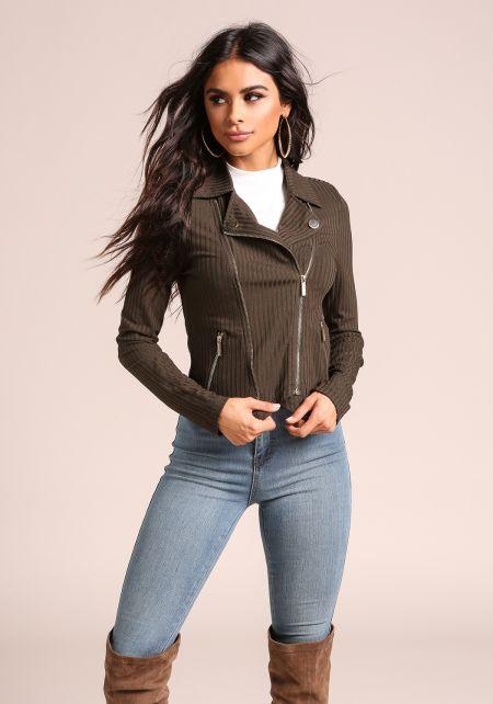 Olive Ribbed Knit Multi Zipper Jacket