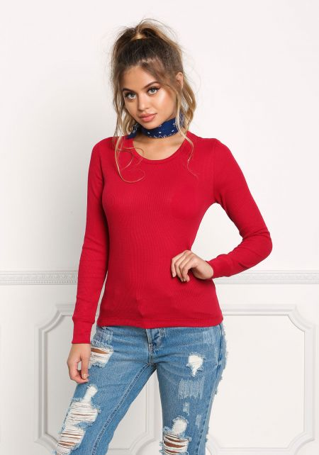 Red Basic Thermal Pullover Top