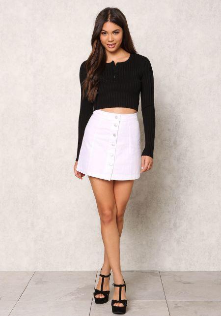 White Button Down Boxy Denim Skirt