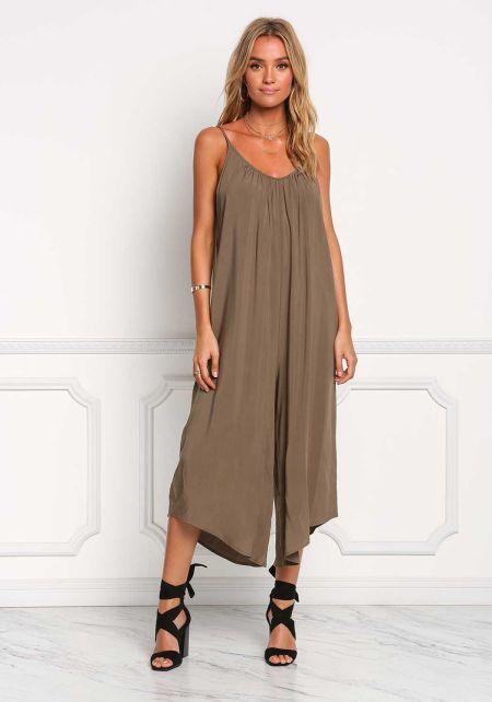 Olive Wide Leg Cropped Jumpsuit