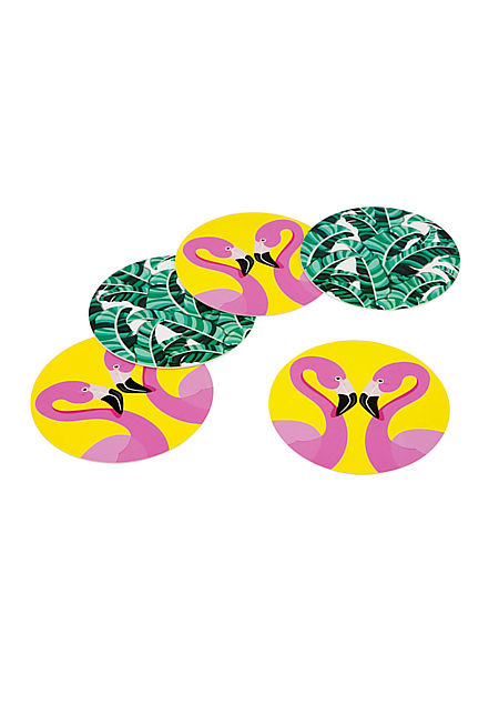 Sunnylife Reversible Tropical Flamingo Coasters