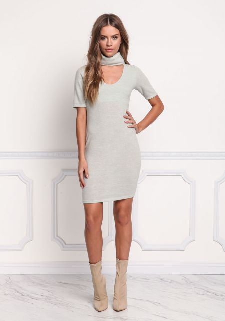 Sage Soft Knit Turtleneck Bodycon Dress