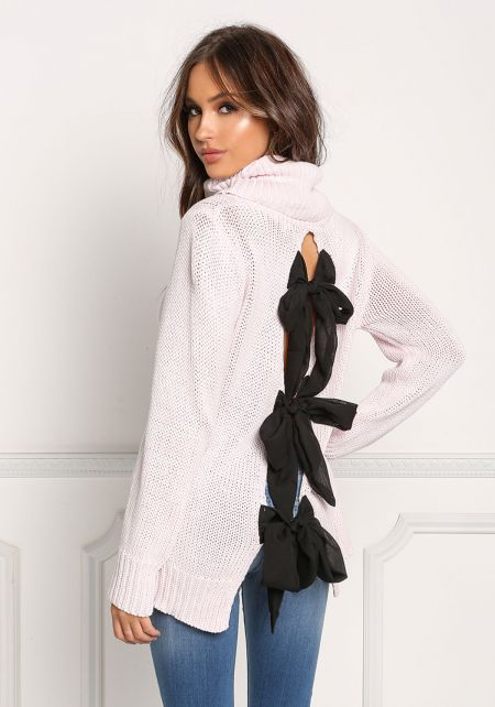 Pink Back Ribbon Turtleneck Thick Knit Sweater