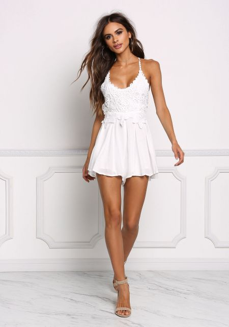 Off White Gauze Embroidered Cross Strap Romper
