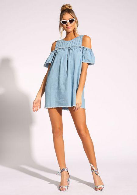 Denim Cold Shoulder Shift Dress