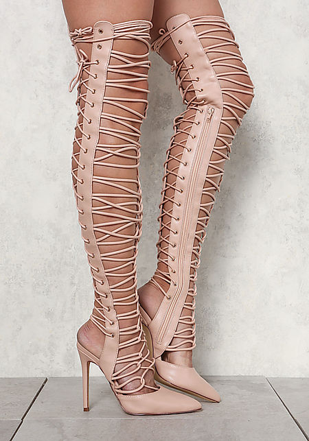 Nude Pointed Toe Lace Up Thigh High Heels