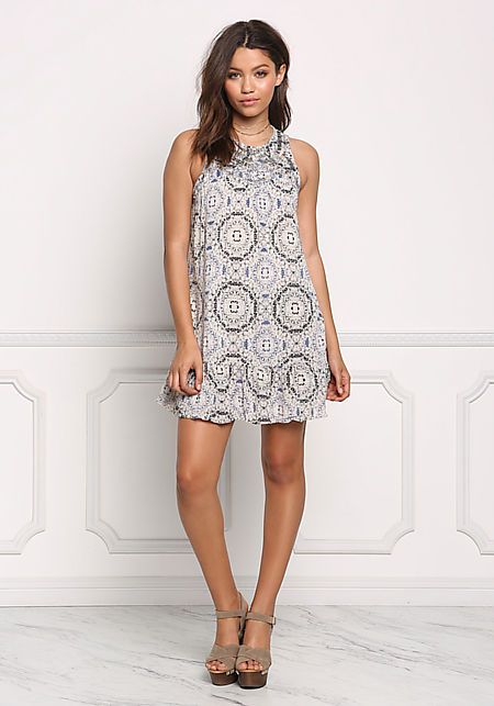 Multi Print Beaded Shift Dress