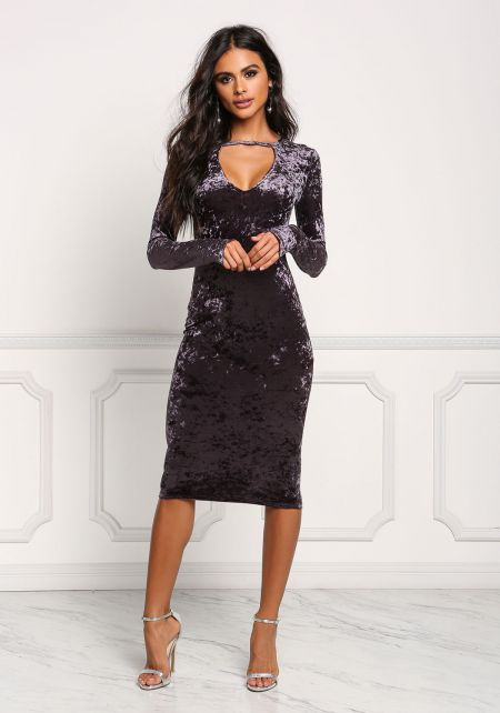 Dark Purple Crushed Velvet Cut Out Bodycon Dress