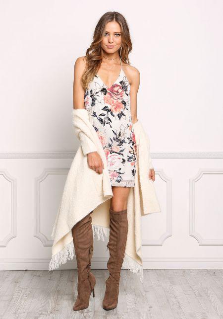 Multi Burnout Velvet Rose Open Back Slip Dress