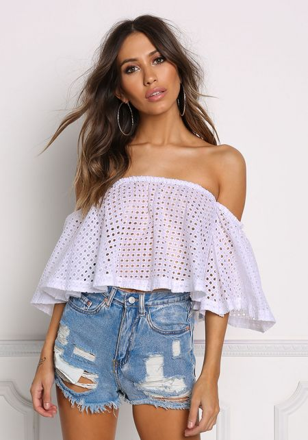 White Eyelet Off Shoulder Crop Top