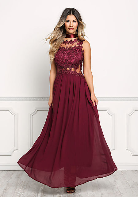 Wine Floral Applique Tulle Maxi Gown