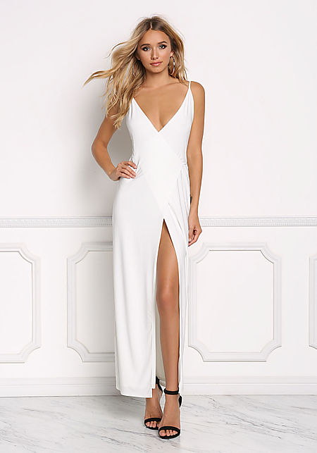 Ivory Sleek Wrap Maxi Dress