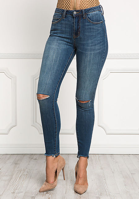 High Rise Knee Slit Skinny Jeans