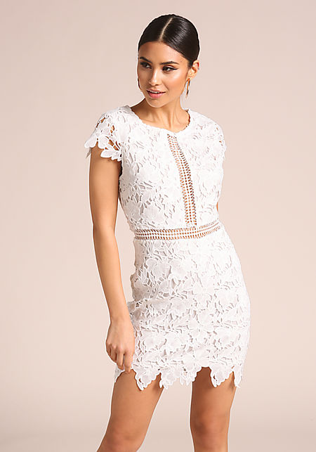 White Floral Applique Bodycon Dress