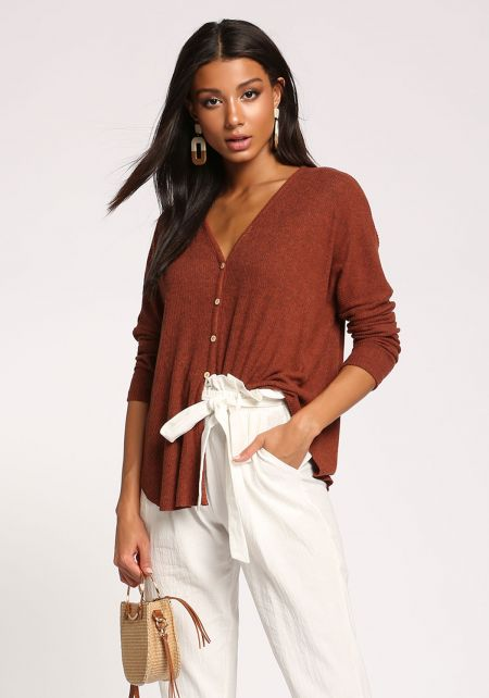 Rust Button Down Ribbed Knit Top