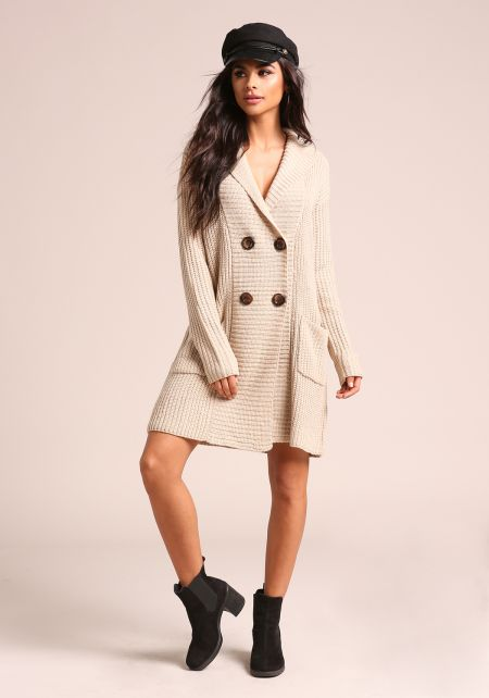 Oatmeal Double Breasted Hooded Thick Knit Cardigan