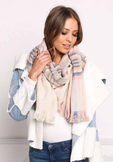 Multi Plaid Print Fringe Scarf