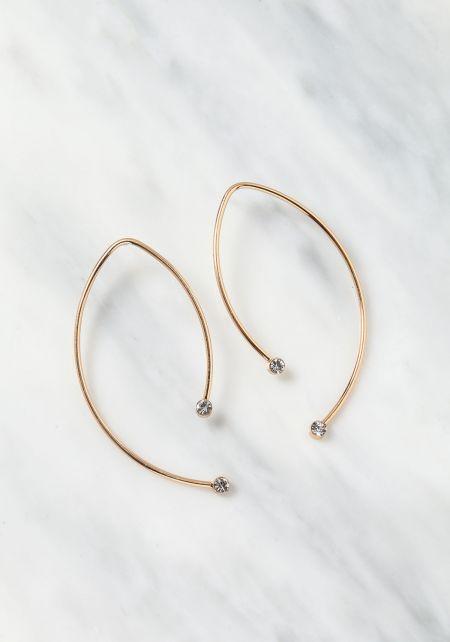 Gold Anchor Rhinestone Earrings
