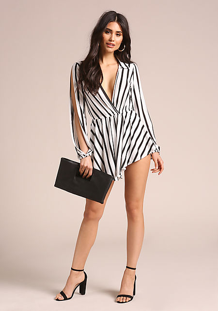White Striped Sleeve Slit Romper