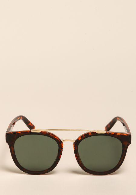 Brown Wayfarer Top Bar Sunglasses