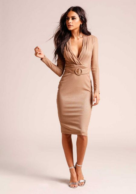 Mocha Sparkle Plunge Belted Bodycon Dress