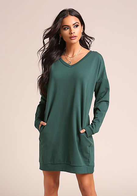 Hunter Green Pullover Pocket Sweater Shift Dress