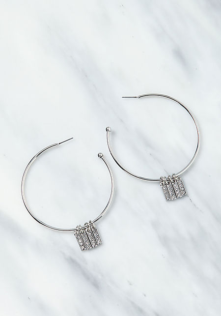 Silver Rhinestone Bar Hoop Earrings