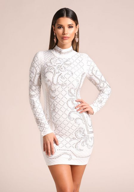 Ivory Quilted Rhinestone Studded Bodycon Dress
