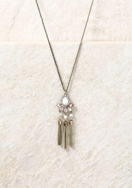 Pink Teardrop Pendant Tassel Chain Necklace