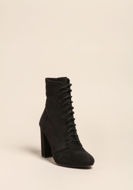 Black Suedette Lace Up Booties