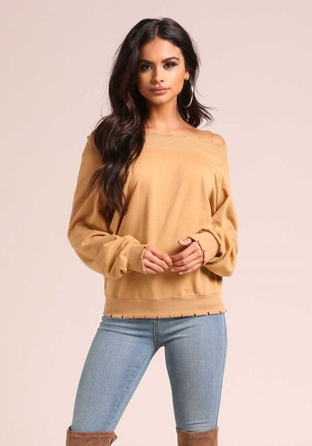Mustard Off Shoulder Slit Sweater Top