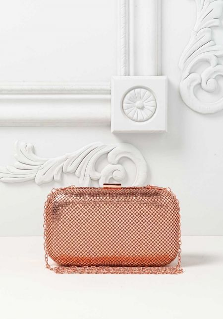 Rose Gold Flat Metal Stud Clutch