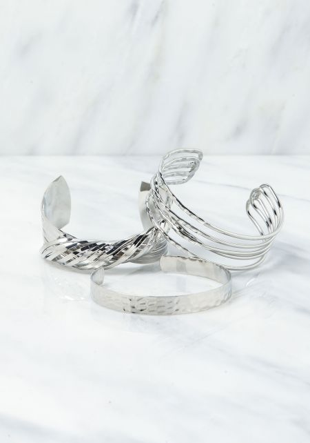 Silver Twisted Assorted Cuff Bracelet Set