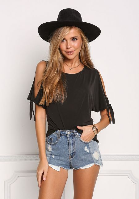 Black Cold Shoulder Tied Knit Top