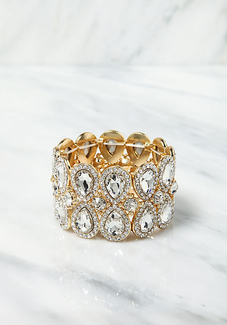 Gold Teardrop Rhinestone Stretch Bracelet