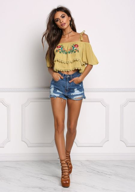 Lime Crepe Floral Embroidered Crop Top