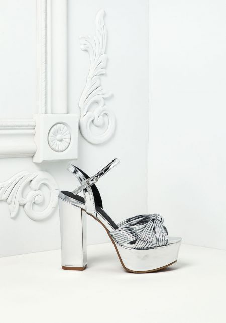 Silver Leatherette Knotted Multi Strap Heels