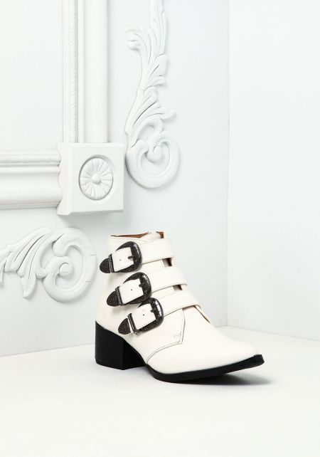 White Leatherette Side Buckle Booties