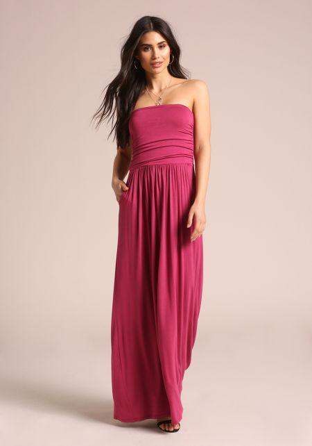 Fuchsia Strapless Ruched Pocket Maxi Dress