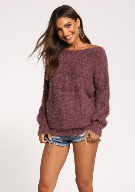 Dark Mauve Puff Sleeve Fuzzy Knit Sweater Top